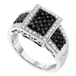 14kt White Gold Womens Round Black Colored Diamond Rectangle Cluster Ring 5/8 Cttw