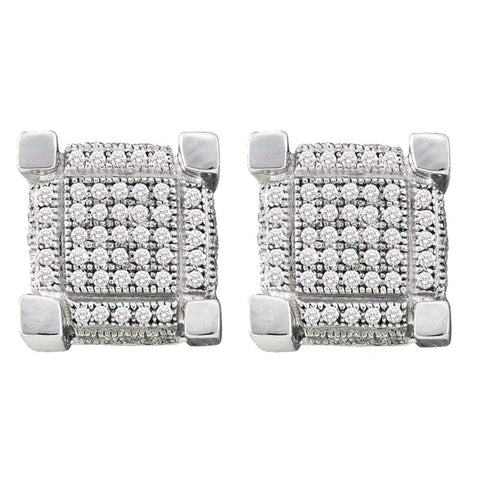 10K White Gold Round Claw Pave Diamond 3D Cube Square Cluster Earrings 1/4 CT