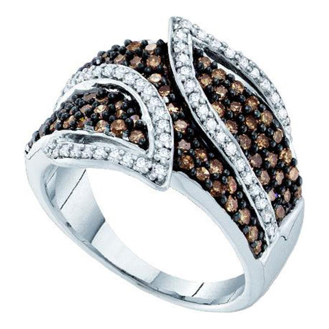 10k White Gold Cognac-brown Colored Round Diamond Womens Cocktail Band Ring 1.00 Cttw