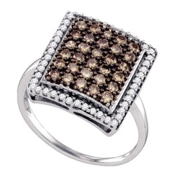 10kt White Gold Womens Round Cognac-brown Colored Diamond Rectangle Cluster Ring 1.00 Cttw