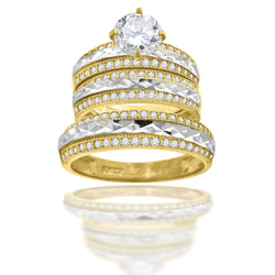 10KT Gold CZ Trio-Ring