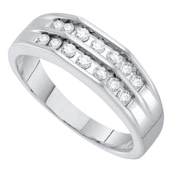 10kt White Gold Mens Round Diamond Double Row Flat Surface Wedding Band 1/2 Cttw