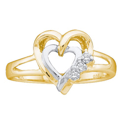 Two-tone Sterling Silver Womens Round Diamond Double Heart Ring .03 Cttw