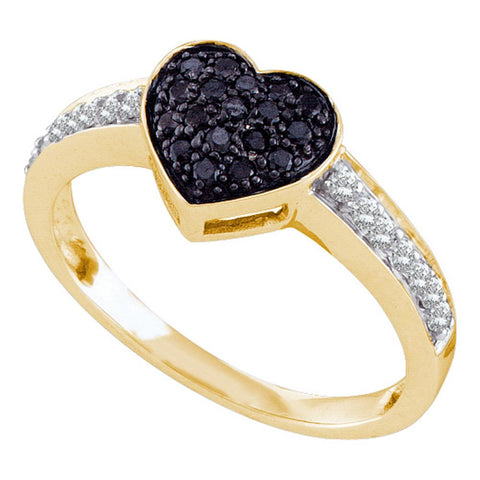 10k Yellow Gold Womens Black Colored Round Diamond Heart Cluster Ring 1/3 Cttw