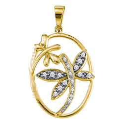 14kt Yellow Gold Womens Round Diamond Dragonfly Bug Oval Frame Pendant 1/8 Cttw