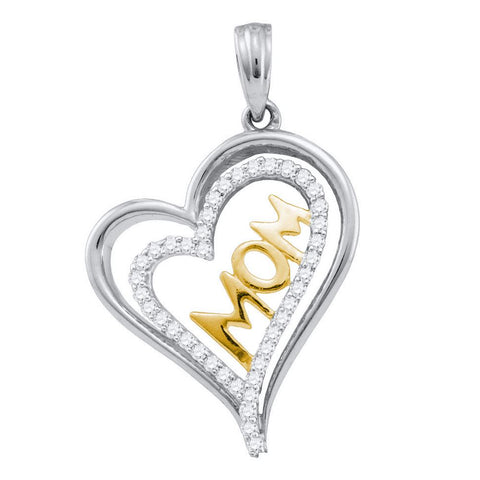 10kt Two-tone Gold Womens Round Diamond Mom Mother Double Heart Pendant 1/5 Cttw
