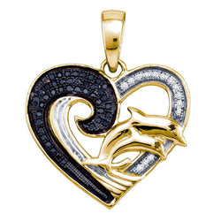 Sterling Silver Black Colored White Diamond Womens Yellow-tone Heart Double Dolphin Pendant 1/6 Cttw