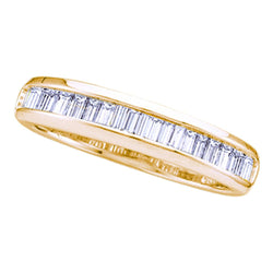 Yellow-tone Sterling Silver Womens Baguette Diamond Band Wedding Anniversary Ring 1/3 Cttw