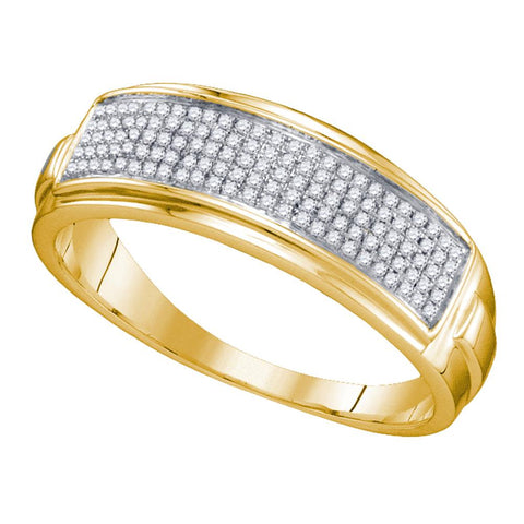 Yellow-tone Sterling Silver Mens Round Diamond Band Wedding Anniversary Ring 1/5 Cttw