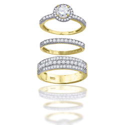 10KT Gold CZ Trio Ring