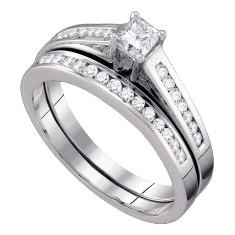 10K White Gold Princess Diamond Bridal Wedding Engagement Ring Band Set 1/2 CT