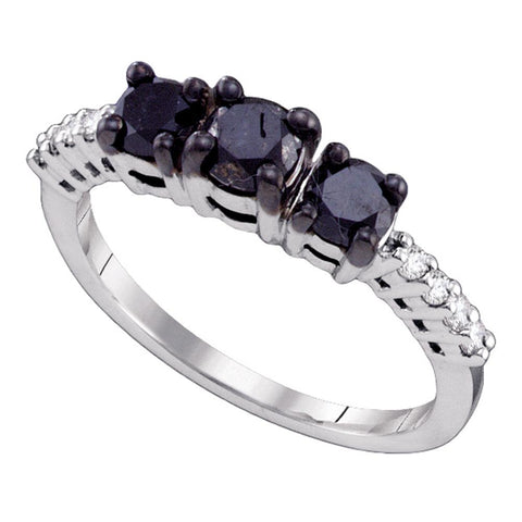 10k White Gold Womens Black 3-stone Colored Diamond Bridal Wedding Engagement Anniversary Ring 1.00 Cttw