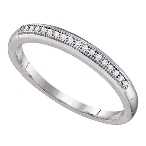 10k White Gold Womens Round Diamond Bridal Wedding Anniversary Band 1/20 Cttw