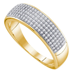 10kt Yellow Gold Mens Round Diamond Band Wedding Anniversary Ring 1/3 Cttw