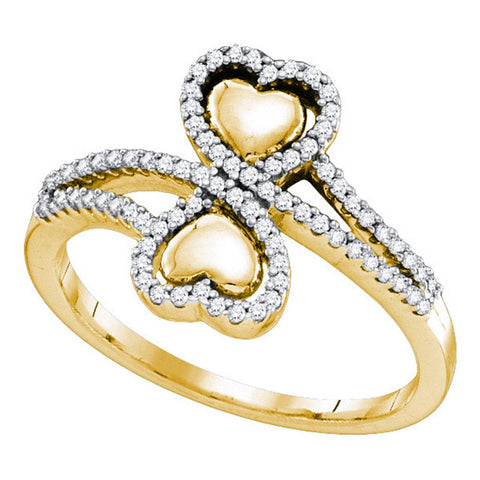 10k Yellow Gold Round Diamond Womens Double Heart Bypass-style Valentine Love Ring 1/4 Ctw