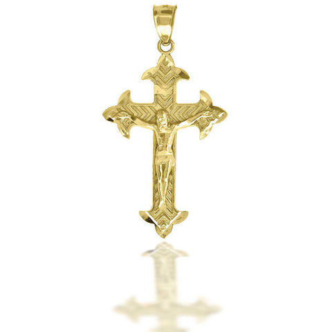 10KT Gold D/C W/Crucifix Cross Pendant
