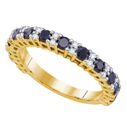 10kt Yellow Gold Womens Round Black Colored Diamond Band Wedding Anniversary Ring 1.00 Cttw