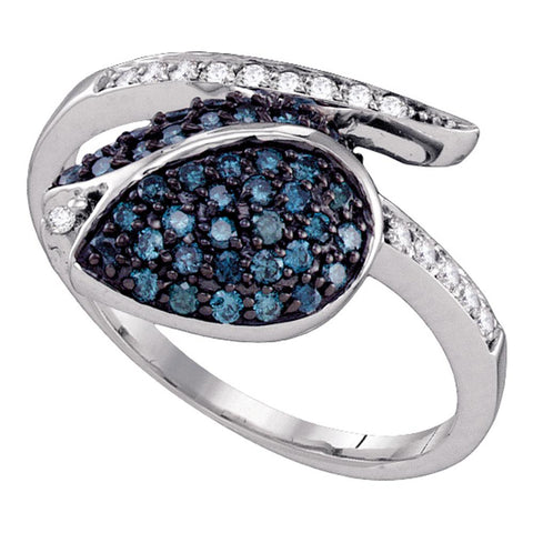 10k White Gold Blue Colored Diamond Womens Ladies Classy Tulip Flower Cluster Fine Ring 1/2 Cttw