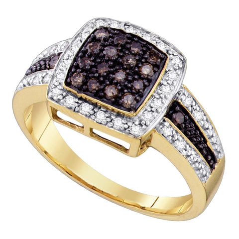 10k Yellow Gold Cognac-brown Colored Diamond Womens Cluster Square-shape Cocktail Ring 1/2 Cttw