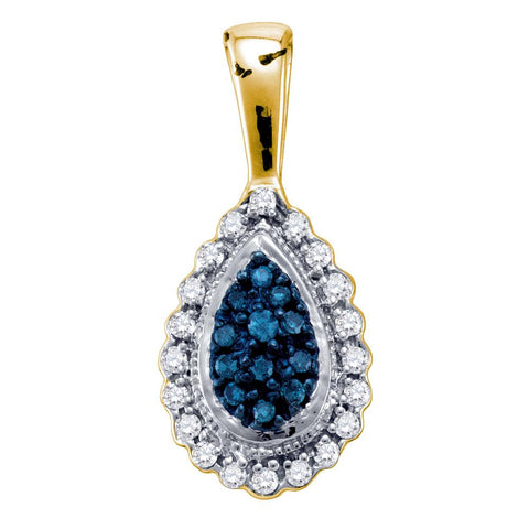 10k Yellow Gold Womens Blue Colored Diamond Teardrop Cluster Pendant 1/6 Cttw