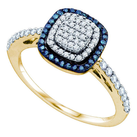 10k Yellow Gold Womens Blue Colored Diamond Square-shape Cluster Ring 3/8 Cttw