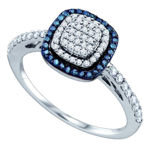 10k White Gold Womens Blue Colored Diamond Square-shape Cluster Ring 3/8 Cttw