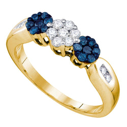 10kt Yellow Gold Womens Round Blue Colored Diamond Cluster Ring 1/2 Cttw