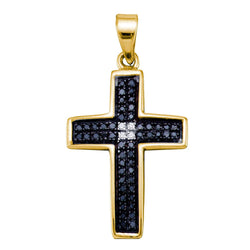 Yellow-tone Sterling Silver Womens Round Black Colored Diamond Cross Religious Pendant 1/6 Cttw