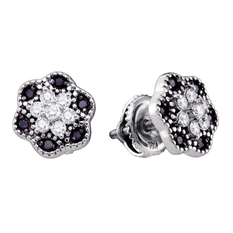 10k White Gold Black Colored Diamond Womens Flower Cluster Stud Earrings 1/4 Cttw