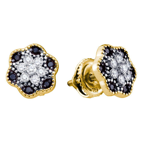 10k Yellow Gold Black Colored Diamond Womens Flower Cluster Stud Earrings 1/4 Cttw