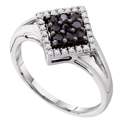14kt White Gold Womens Round Black Colored Diamond Square Cluster Ring 1/5 Cttw