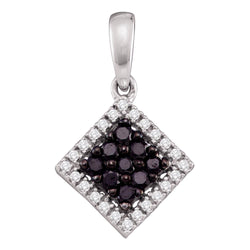 14kt White Gold Womens Round Black Colored Diamond Square Cluster Pendant 1/3 Cttw