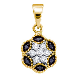 14kt Yellow Gold Womens Round Black Colored Diamond Hexagon Cluster Pendant 1/5 Cttw