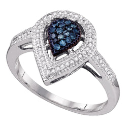 14kt White Gold Womens Round Blue Colored Diamond Teardrop Cluster Ring 1/4 Cttw