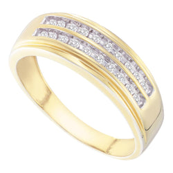 14kt Yellow Gold Mens Round Diamond 2-row Wedding Anniversary Band Ring 1/4 Cttw