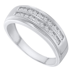 14kt White Gold Mens Round Diamond 2-row Wedding Anniversary Band Ring 1/4 Cttw