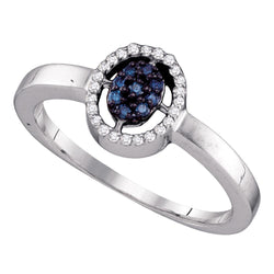 10kt White Gold Womens Round Blue Colored Diamond Cluster Ring 1/6 Cttw