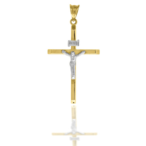 10KT Gold Plain Two-Tone W/Crucifix Cross Pendant