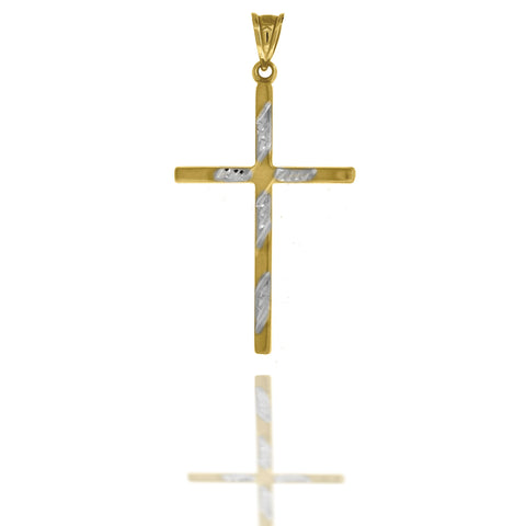 10KT Gold D/C Two-Tone Cross Pendant