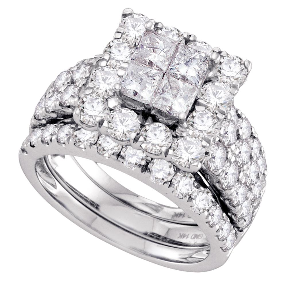 14kt White Gold Womens Princess Diamond Square Halo 3-Piece Bridal Wedding Engagement Ring Band Set 4.00 Cttw