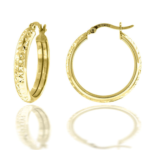10KT Gold D/C Hoops Earring