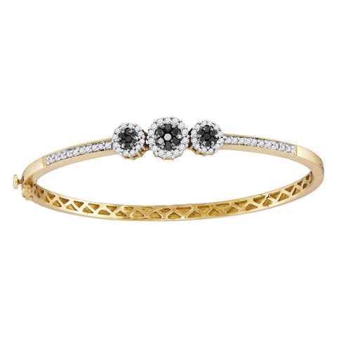 14kt Yellow Gold Womens Round Black Colored Diamond Triple Cluster Bangle Bracelet 1.00 Cttw