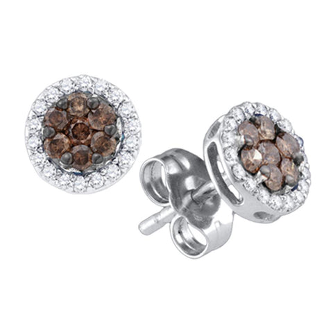 10k White Gold Womens Cognac-brown Colored Diamond Flower Cluster Screwback Stud Earrings 1/4 Cttw