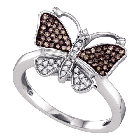 10k White Gold Womens Cognac-brown Colored Round Diamond Cluster Butterfly Bug Ring 1/5 Cttw