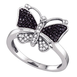 10kt White Gold Womens Round Black Colored Diamond Butterfly Bug Ring 1/4 Cttw