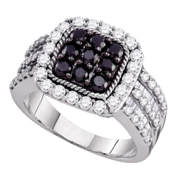 10kt White Gold Womens Round Black Colored Diamond Square Cluster Ring 2.00 Cttw