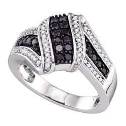10kt White Gold Womens Round Black Colored Diamond Cluster Ring 1/2 Cttw