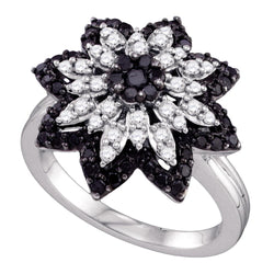 10kt White Gold Womens Round Black Colored Diamond Flower Cluster Ring 7/8 Cttw
