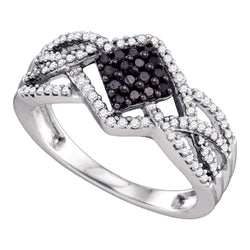 10kt White Gold Womens Round Black Colored Diamond Square Cluster Ring 1/3 Cttw