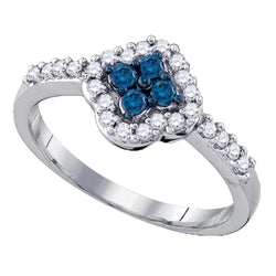 10kt White Gold Womens Round Blue Colored Diamond Cluster Ring 3/8 Cttw